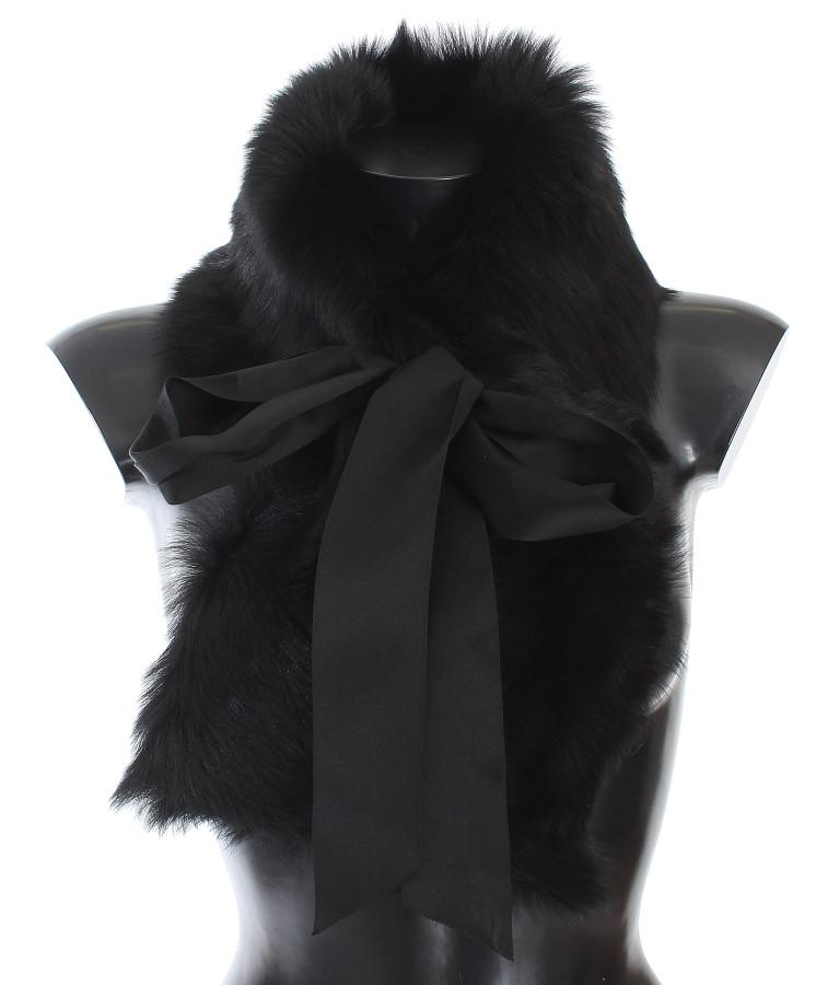 Dolce & Gabbana Women's Lambskin Fur Silk Scarf Black MS1541