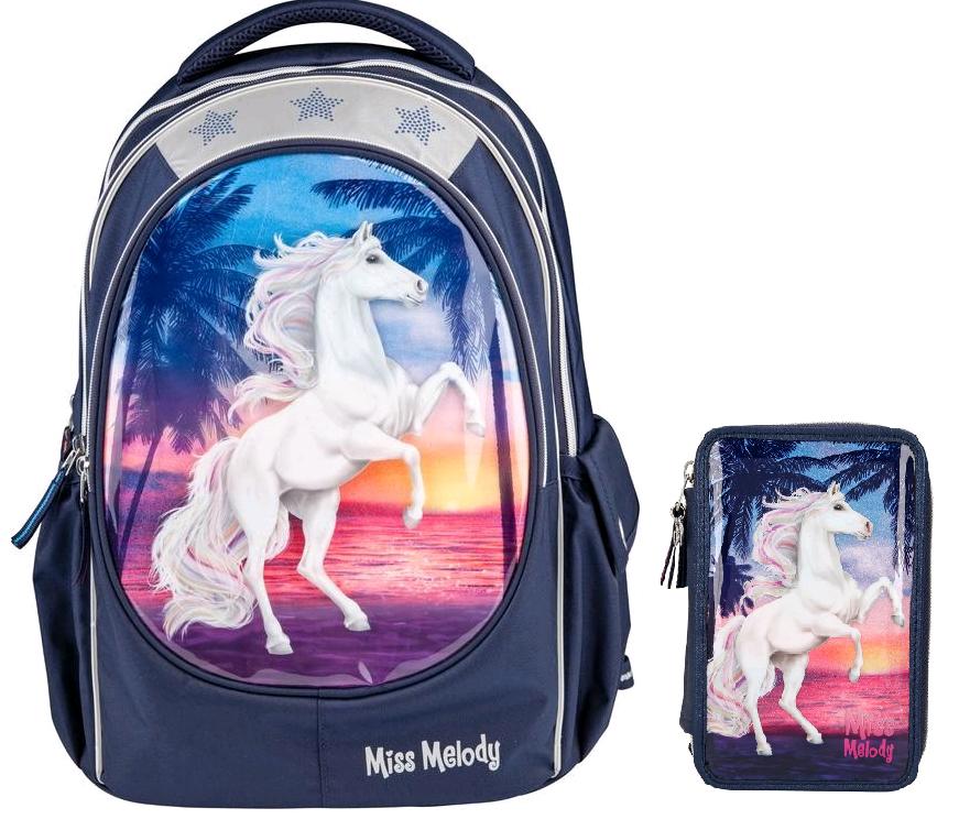 Miss Melody - School Backpack + Triple Pencil Case - Glitter Ocean