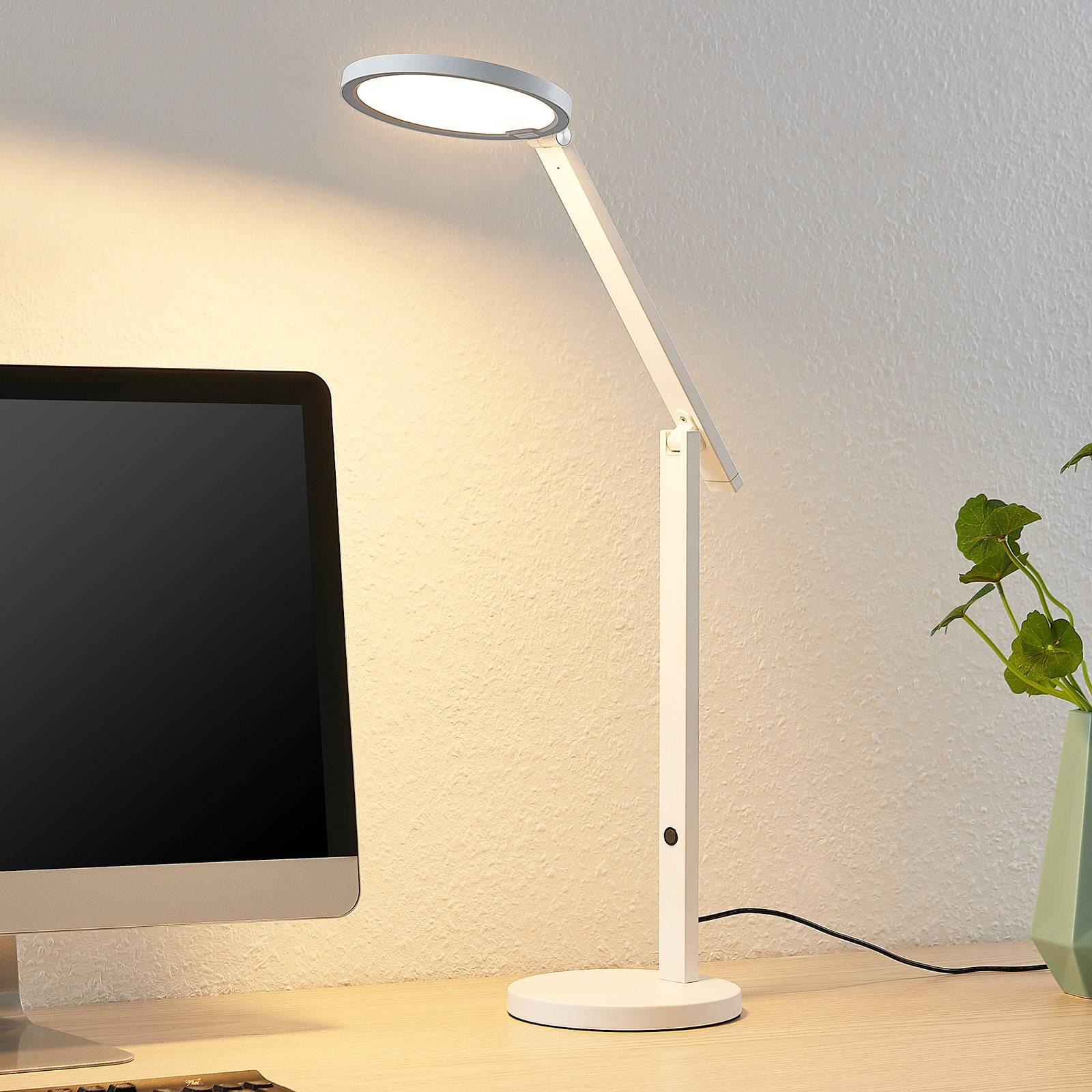 Lucande Felkano -LED-pöytälamppu, valkoinen