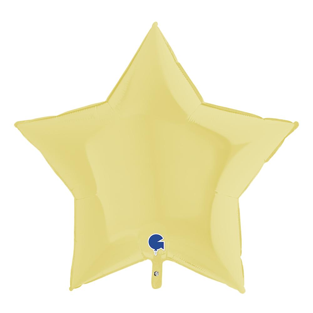 Folieballong Stjärna Pastellgul Matt - 91 cm