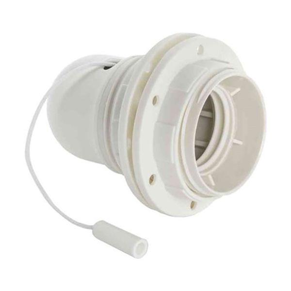 Gelia 100000905 Lampeholder E27, gjenget, med snorstrømbryter
