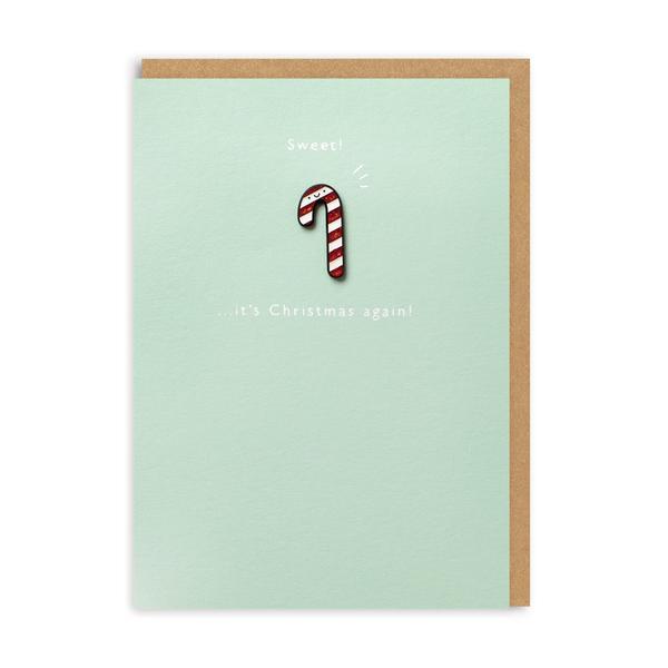 Sweet, It's Christmas Again! Enamel Pin Christmas Card