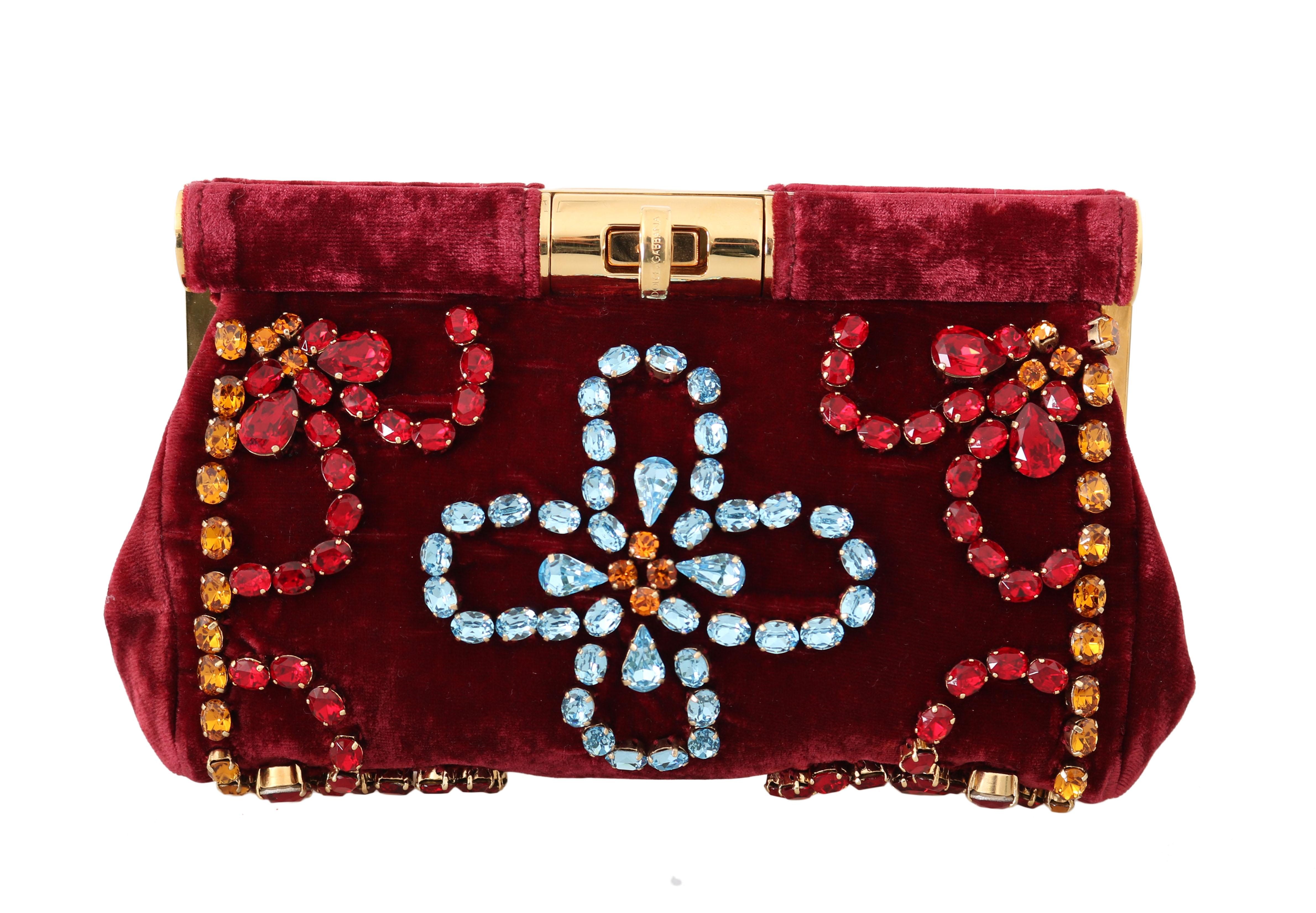 Dolce & Gabbana Women's Ricamo Crystal Party Clutch Bag Red VAS15230