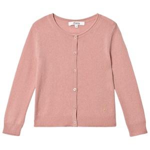Bonpoint Pink Cashmere Wool Cherry Logo Cardigan 4 years