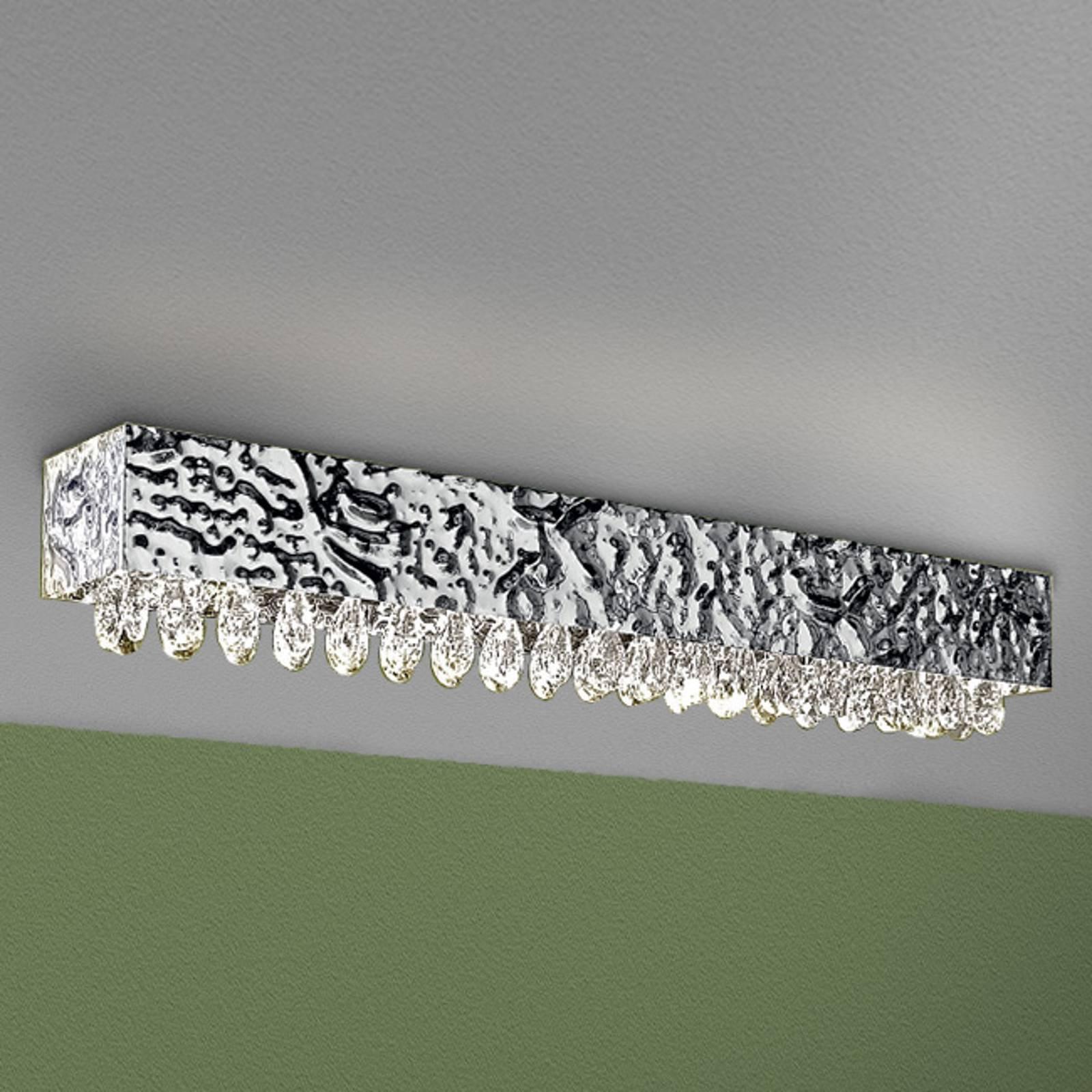Taklampe MAGMA, krystalloppheng klar, 100x15cm