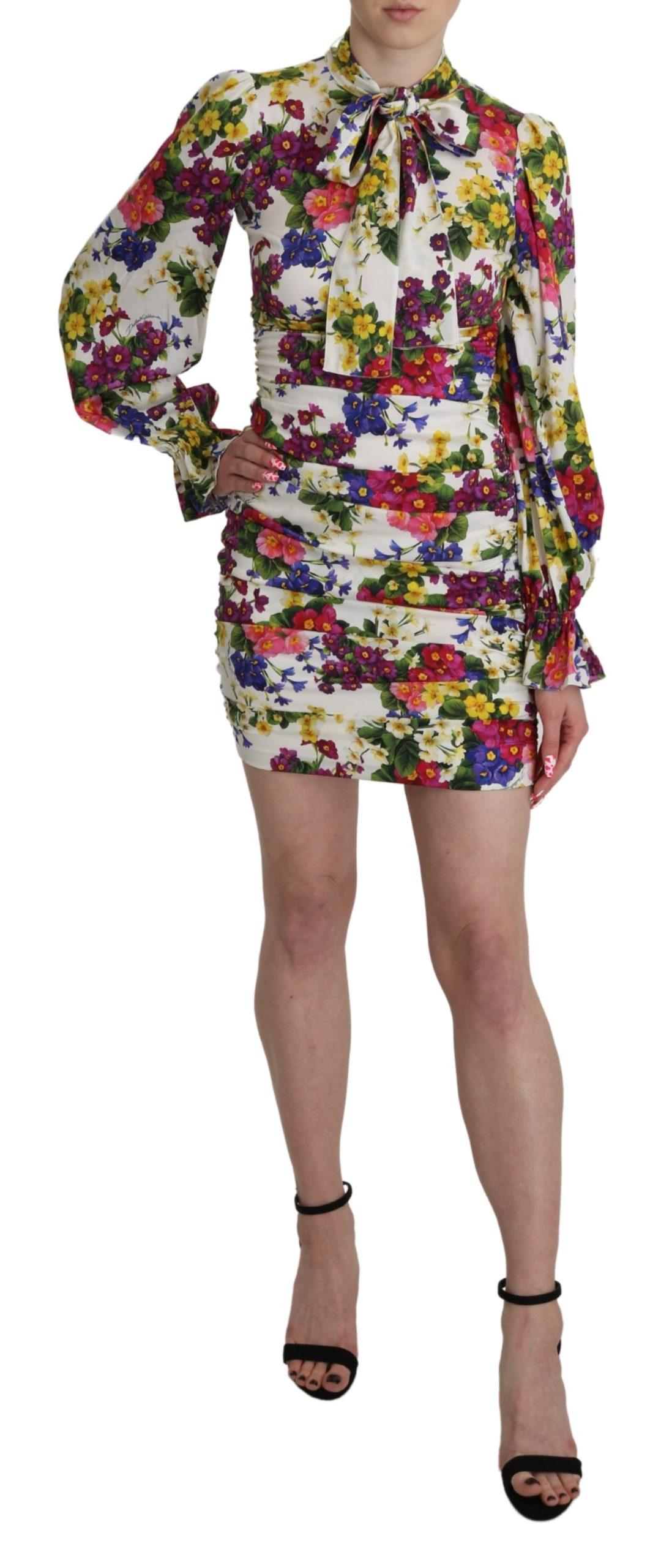 Dolce & Gabbana Women's Silk Floral Sheath Mini Dress White DR2613 - IT38|XS
