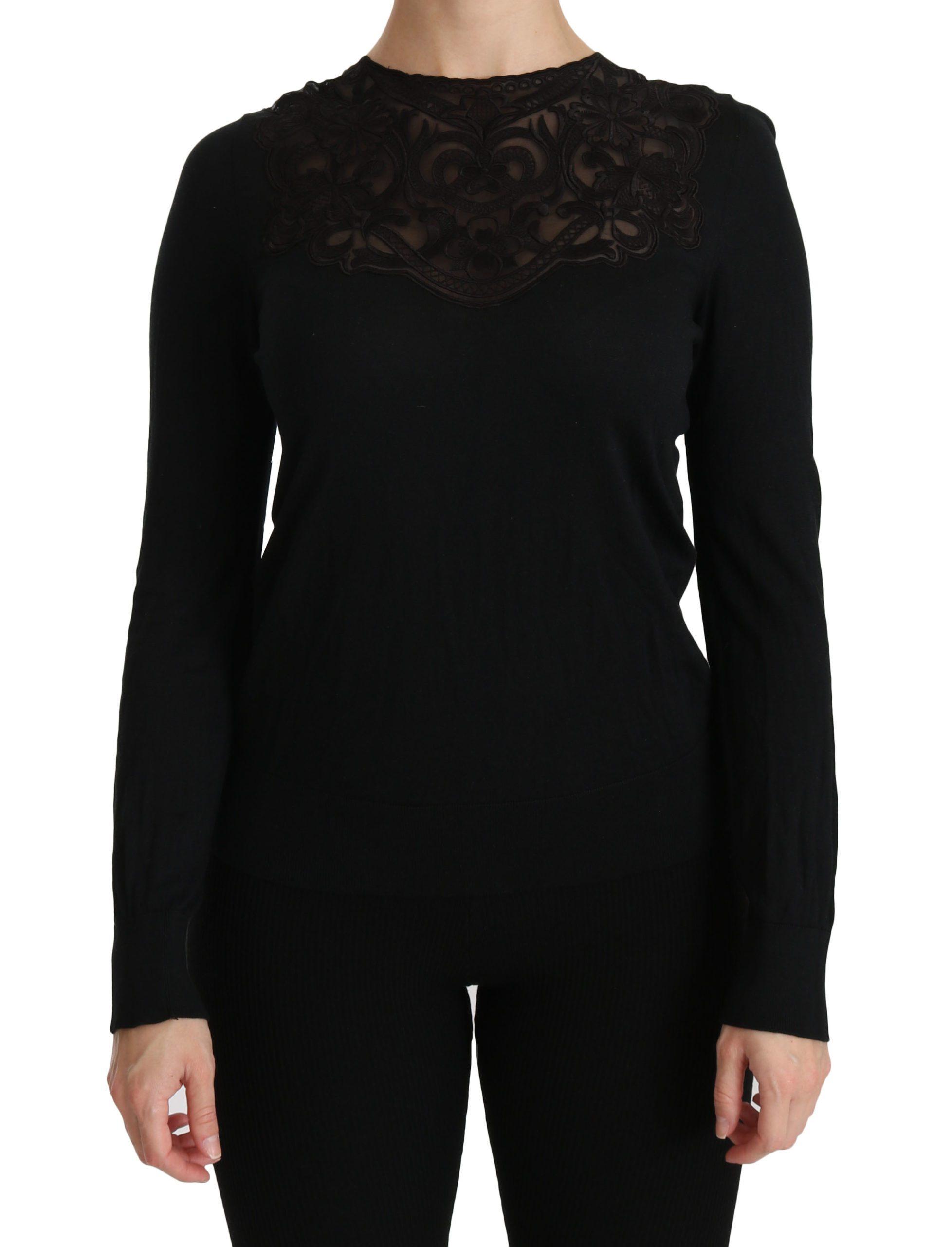 Black Silk Lace Crew Neck Long Sleeve Blouse - IT40|S