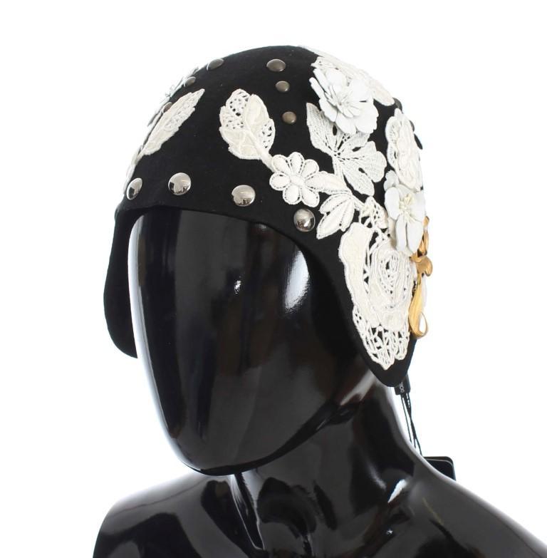 Dolce & Gabbana Women's Wool Floral Leaf Hat Black MS838