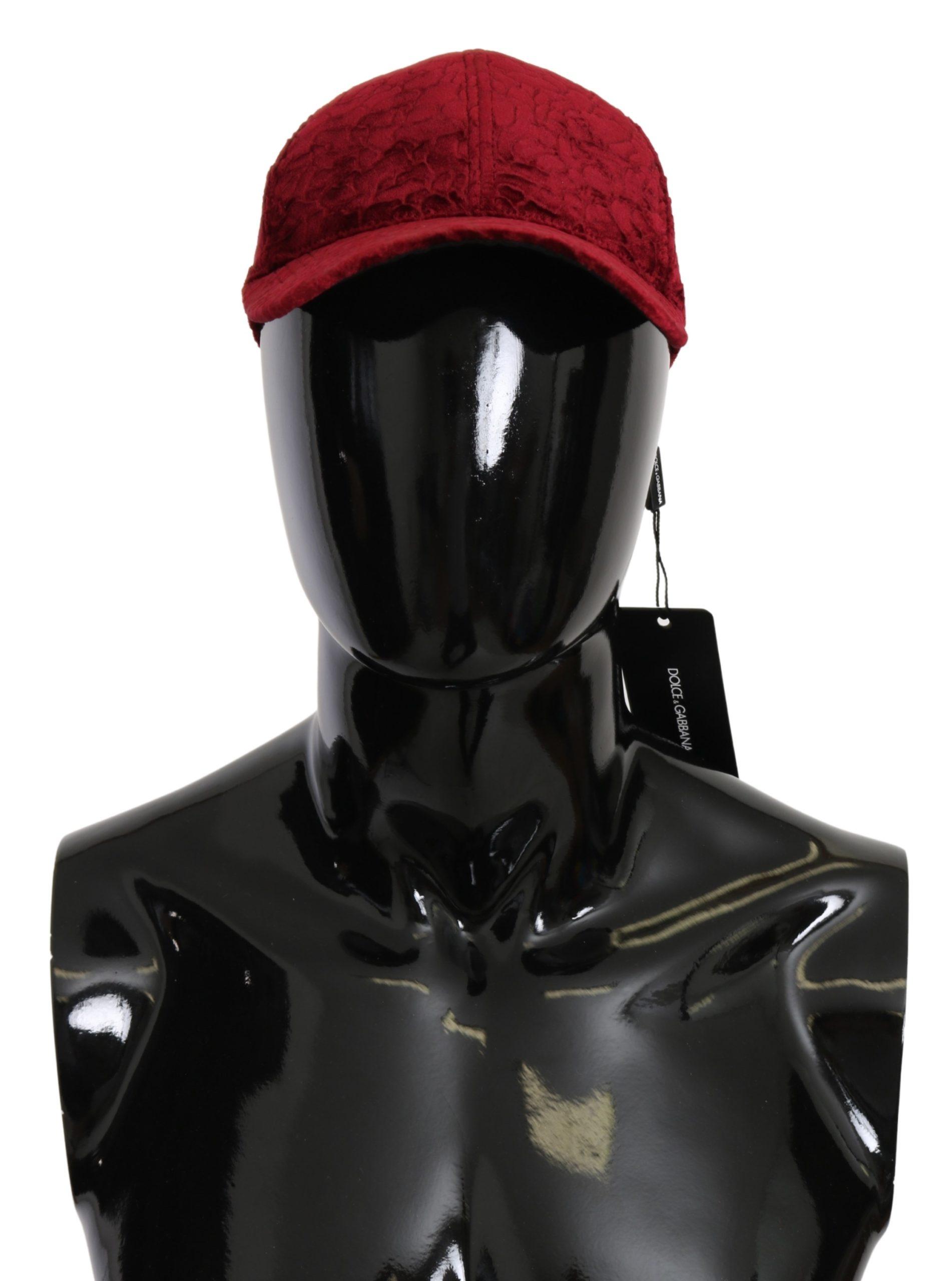 Dolce & Gabbana Men's Lace Baseball Cotton Hat Bordeaux HAT9088 - 58 cm|M