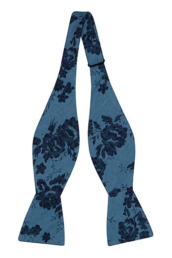Bomull Sløyfer Uknyttede, Lyseblå denim med store, mørkeblå blomster