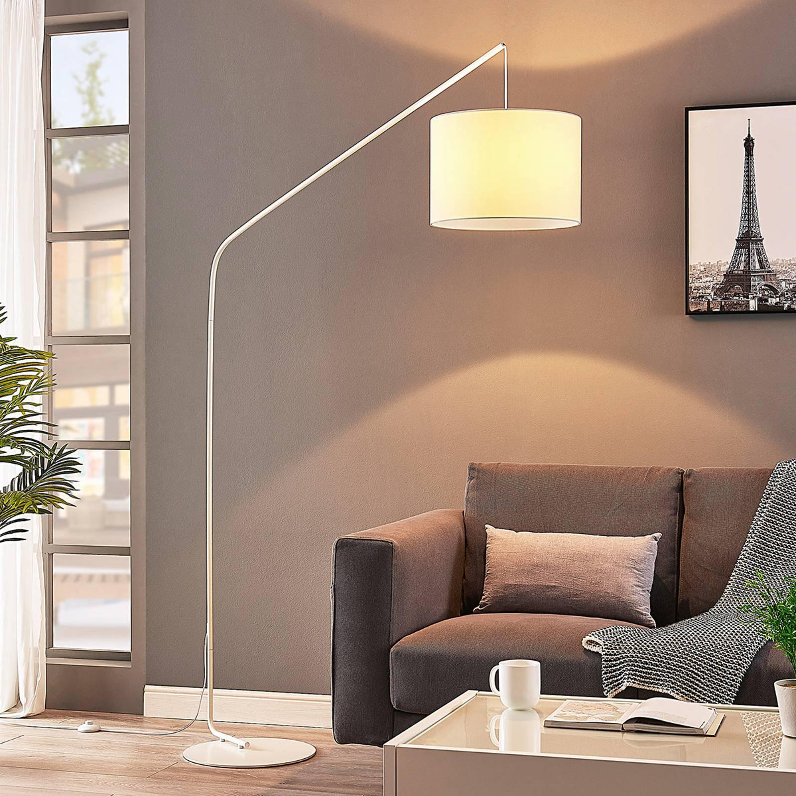 Viskan - hvit gulvlampe med bue