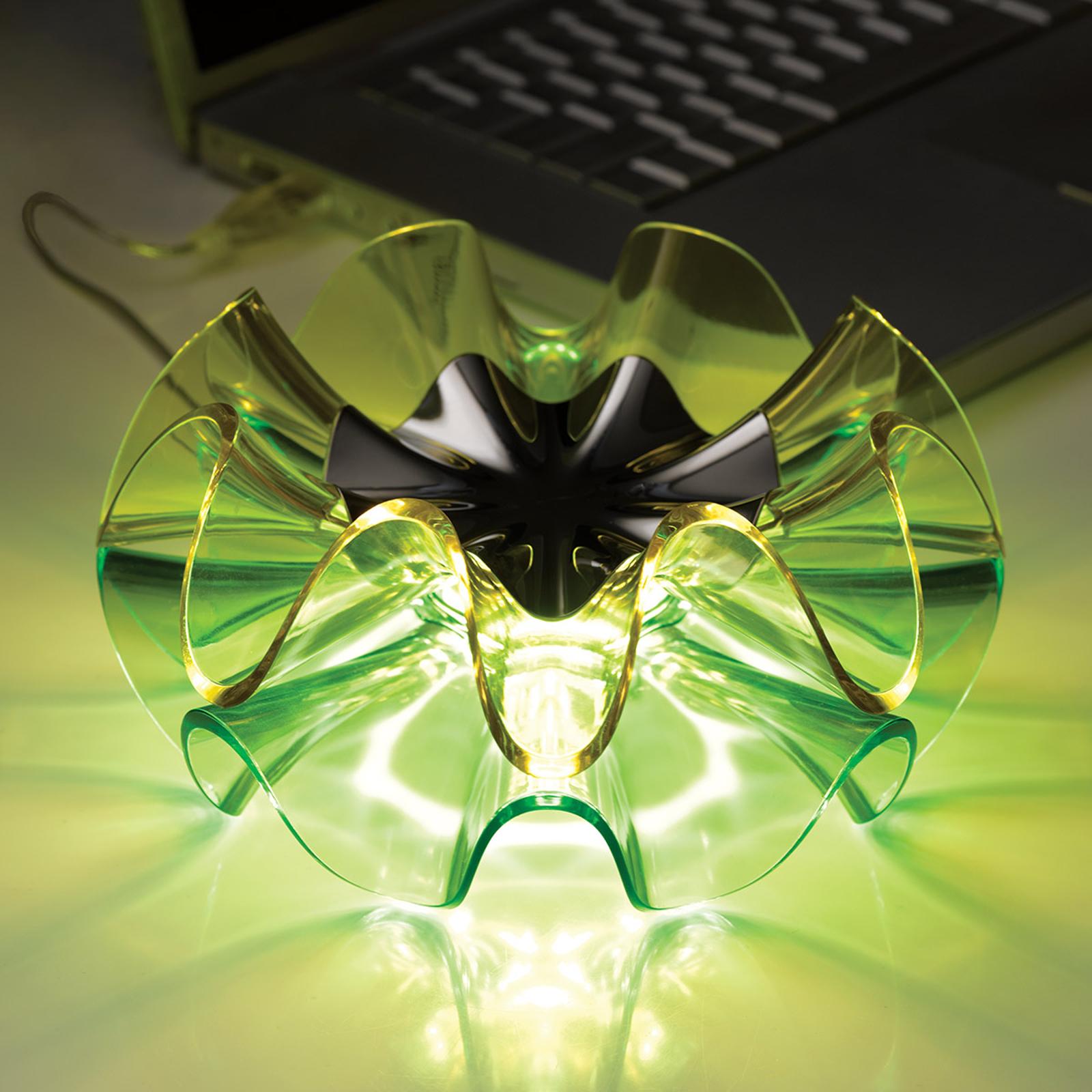 LED-designer-pöytälamppu Flamenca, vihreä