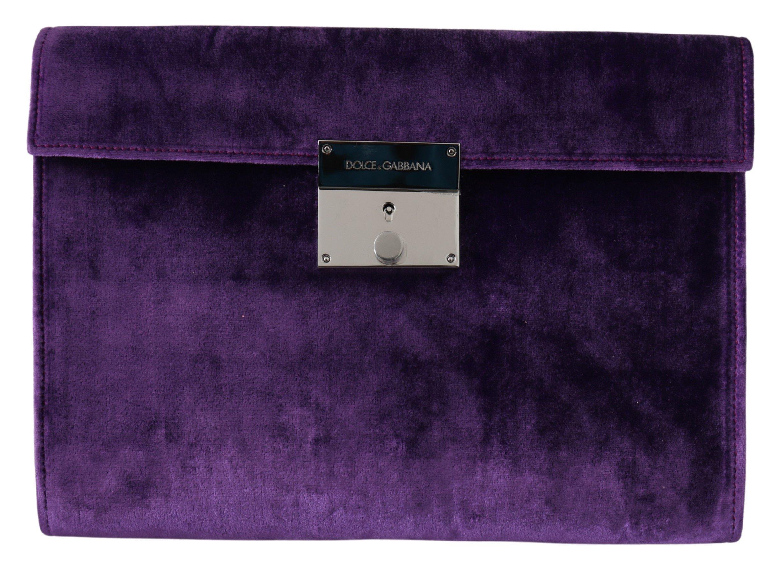 Dolce & Gabbana Men's Floral Leather Briefcase Bag Purple VAS9868