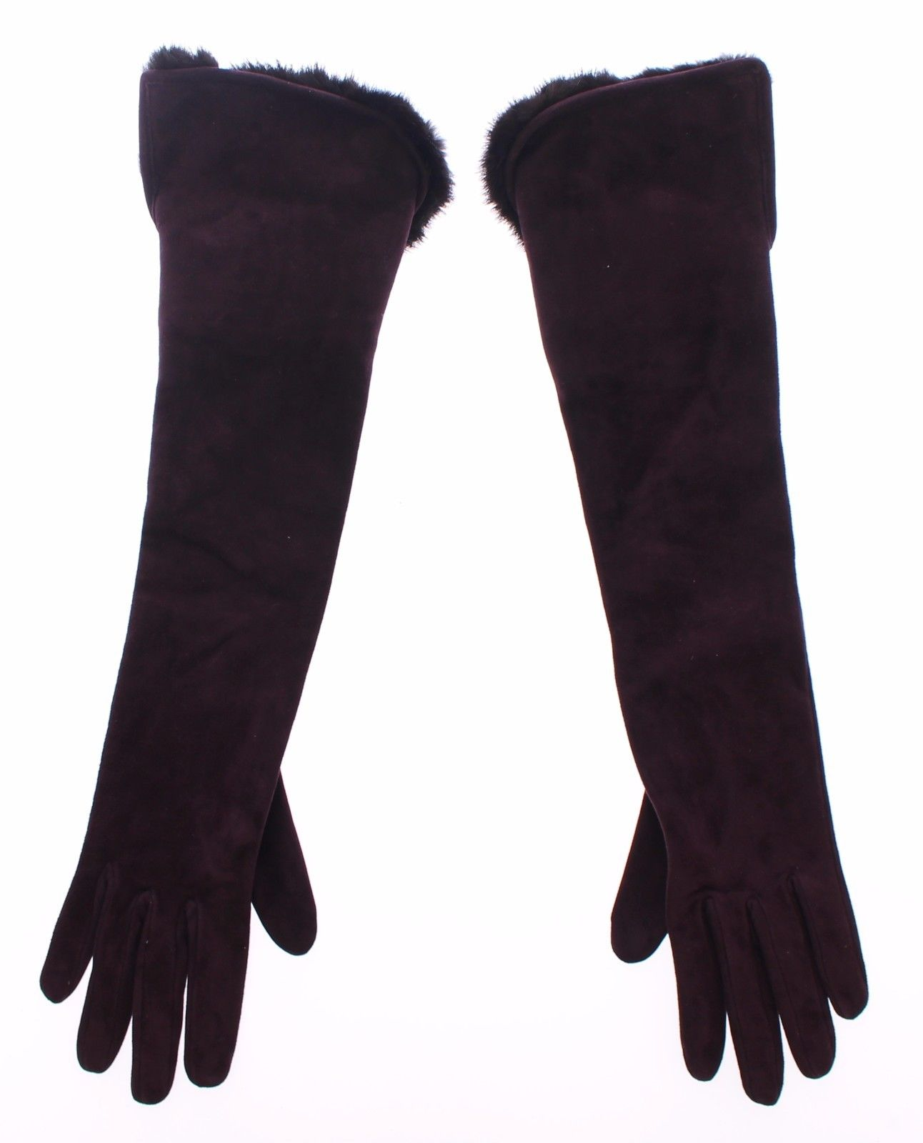Dolce & Gabbana Women's Mink Fur Goatskin Suede Leather Gloves Purple MOM11456 - 7.5 | M