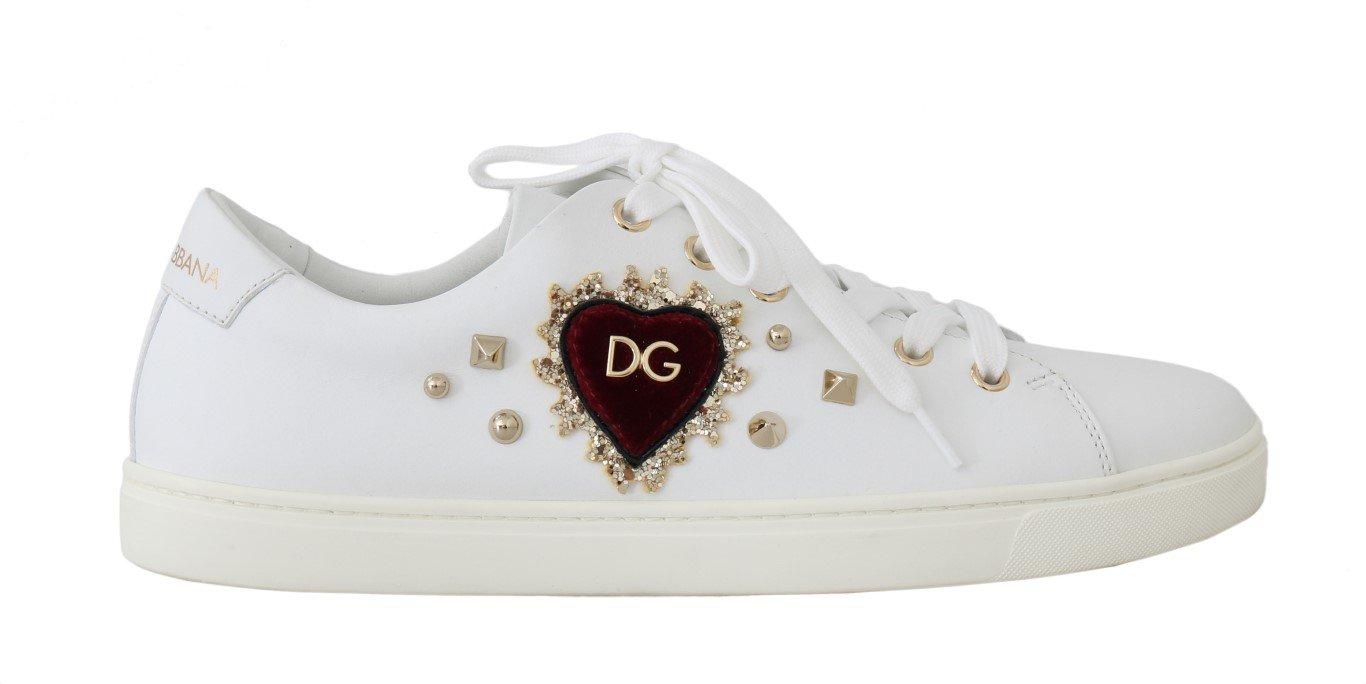 Dolce & Gabbana Women's Leather Flat Shoe White LA4946 - EU35/US4.5