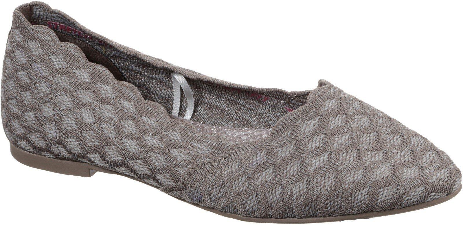 Skechers Women's Cleo Honeycomb Slip On Flat Shoe Taupe 30347 - Dark Taupe 3