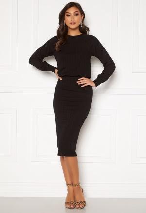 Happy Holly Stella o-neck midi dress Black 48/50