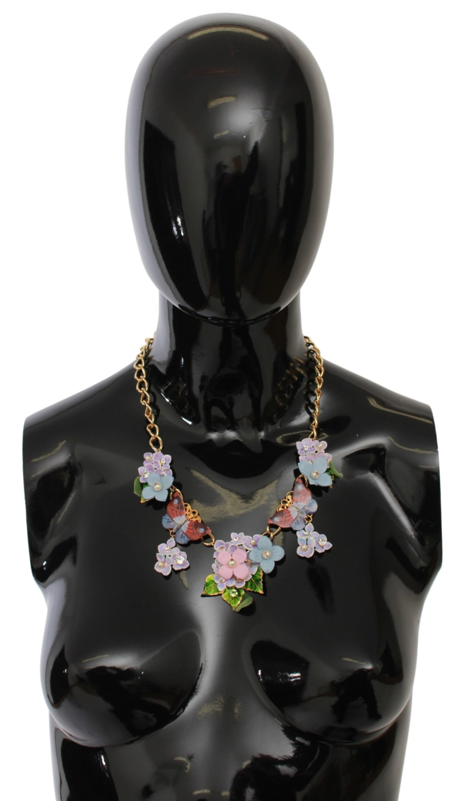 Dolce & Gabbana Women's Crystal Ortensia Floral Butterfly Chain Necklace Gold SMY7099