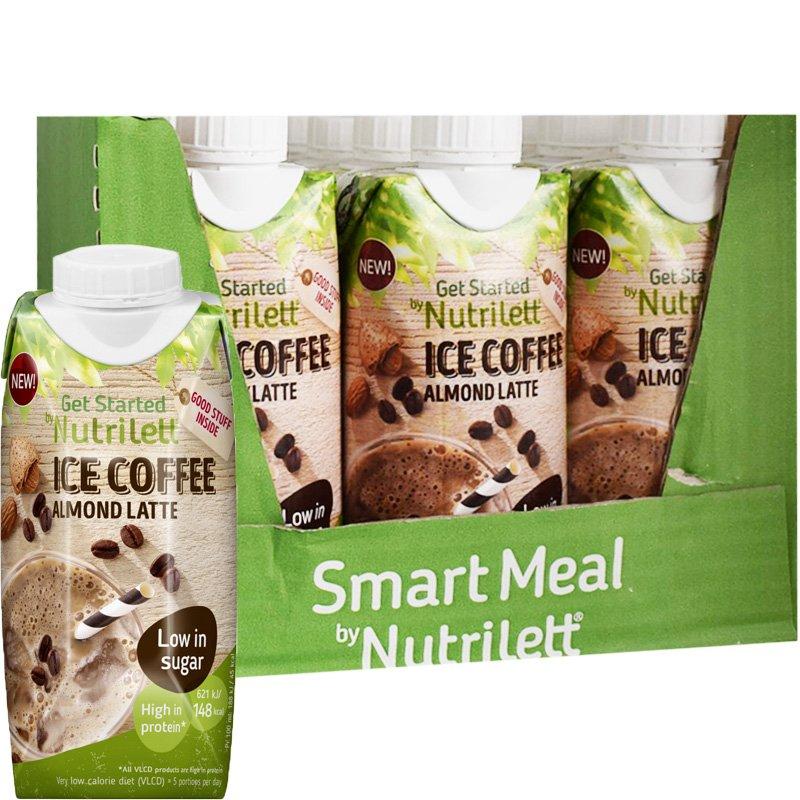 """Laatikollinen Ateriankorvikepirtelöitä """"Ice Coffee Almond Latte"""" 12 x 330ml - 28% alennus"""