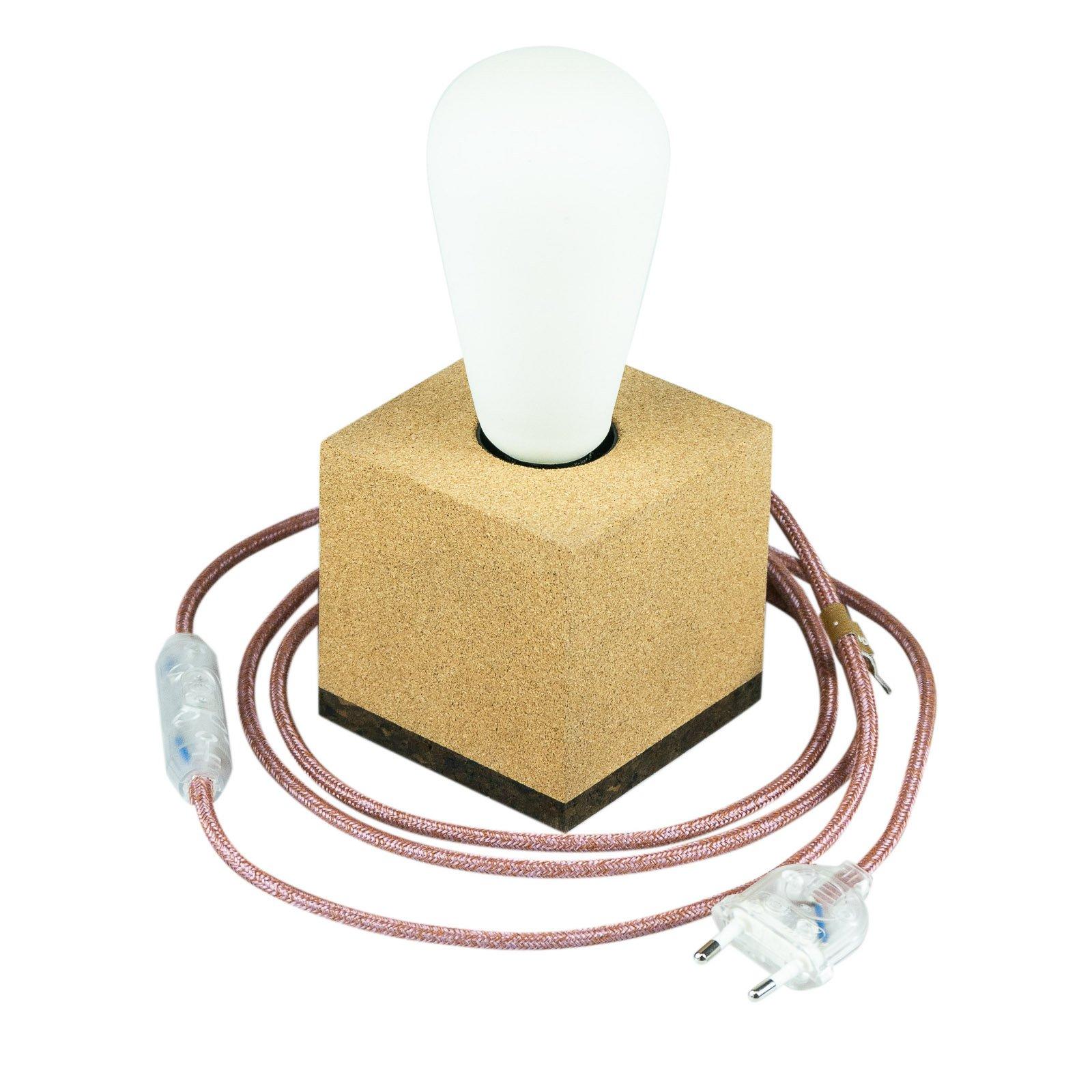 SEGULA Würfel bordlampe av kork, kabel marsala