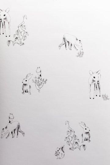Lilou Lilou Tapet Nature Animals, Hvit