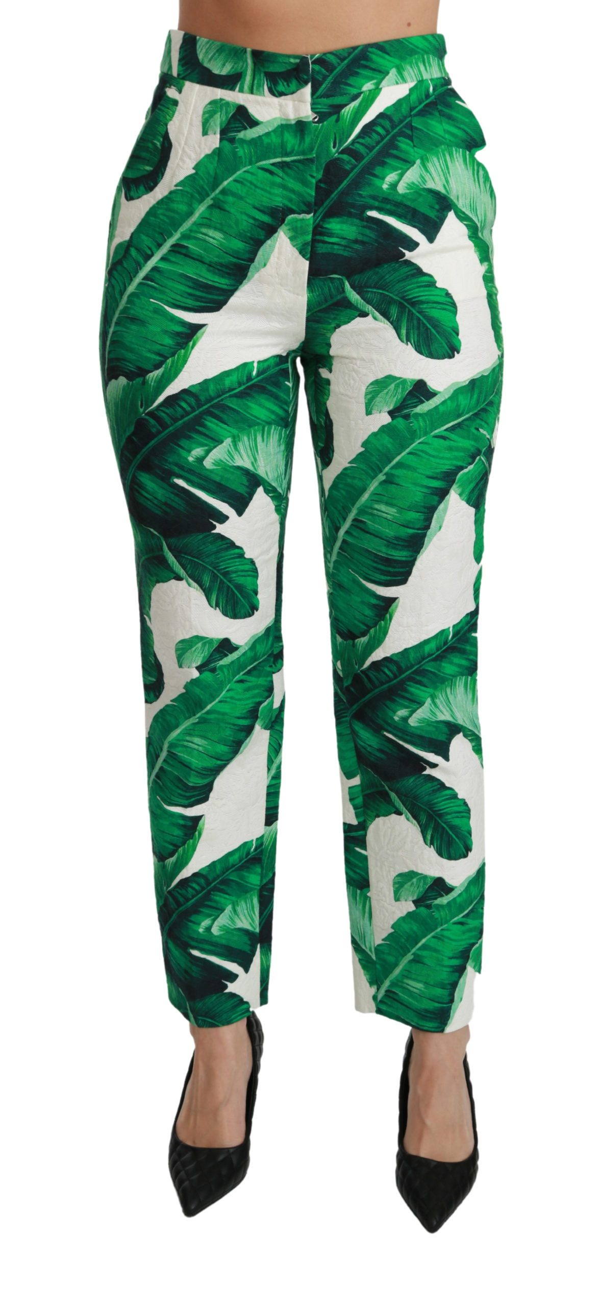 Dolce & Gabbana Women's High Waist Slim Trousers Green PAN70828-42 - IT42 M