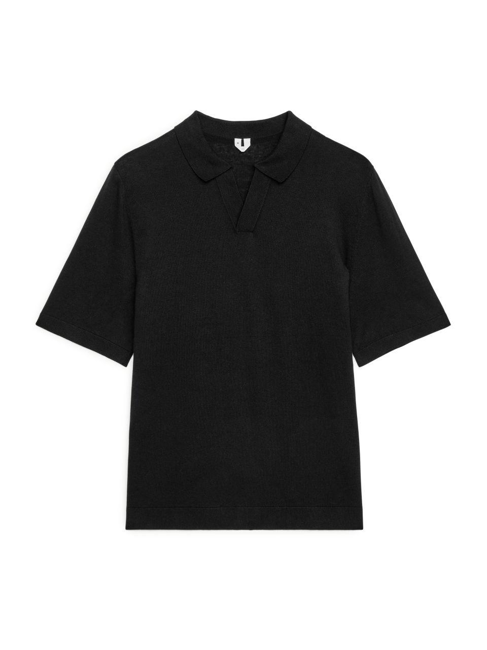 Cotton Linen Polo Shirt - Black