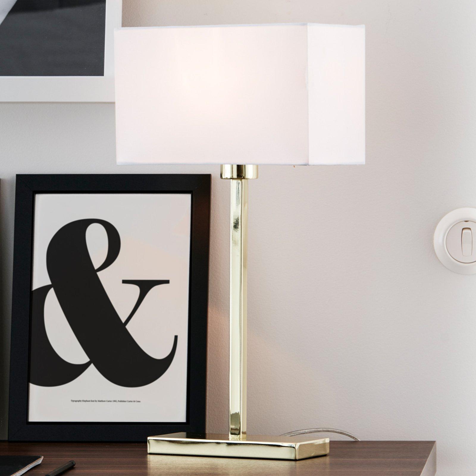 Rettlinjet bearbeidet bordlampe Savoy USB