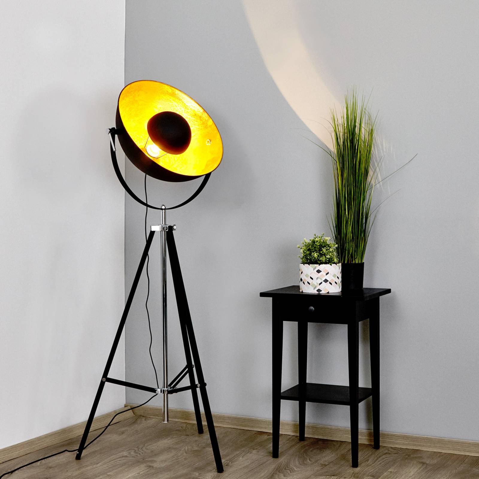 Ekstravagant gulvlampe Mineva i svart og gull