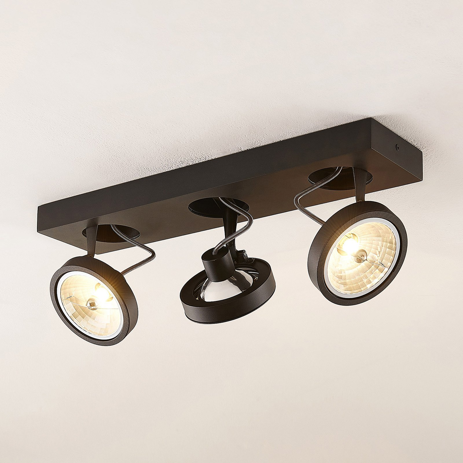 Arcchio Jorvin-taklampe, 3 lyskilder svart