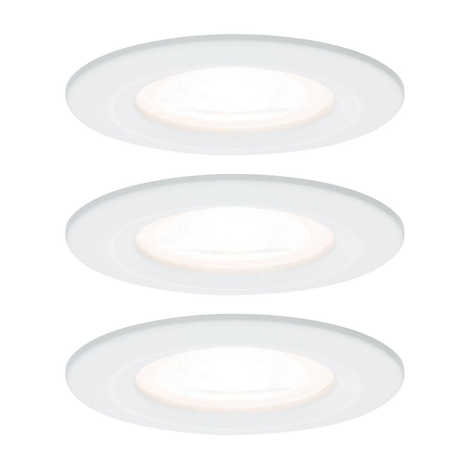 Paulmann 3 spottia Nova pyöreä, IP44, valkoinen