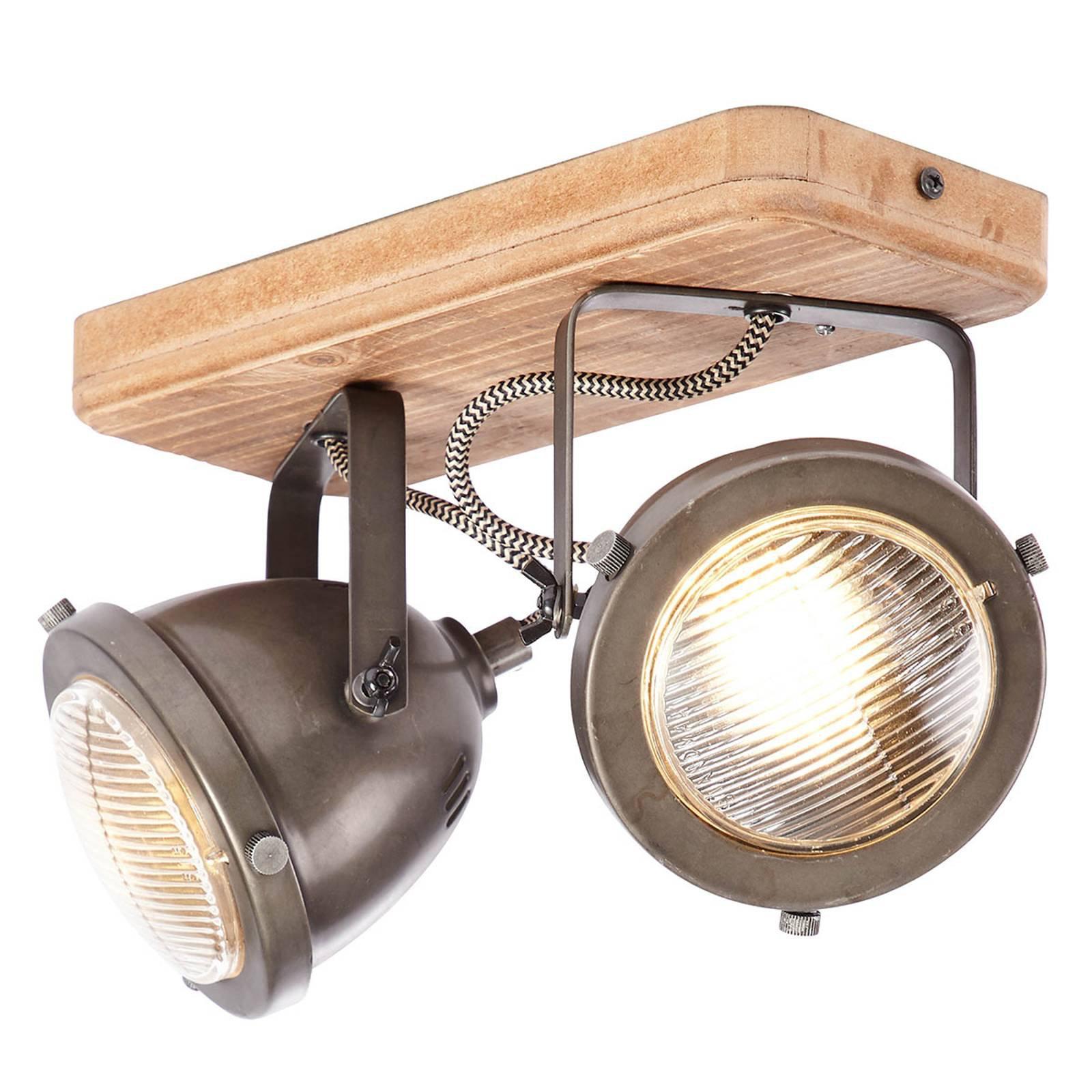 Carmen Wood – taklampe i industriell stil 2 lys