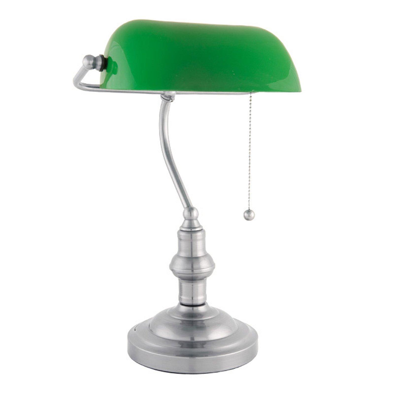 Vakker banklampe Verda med fot av nikkel