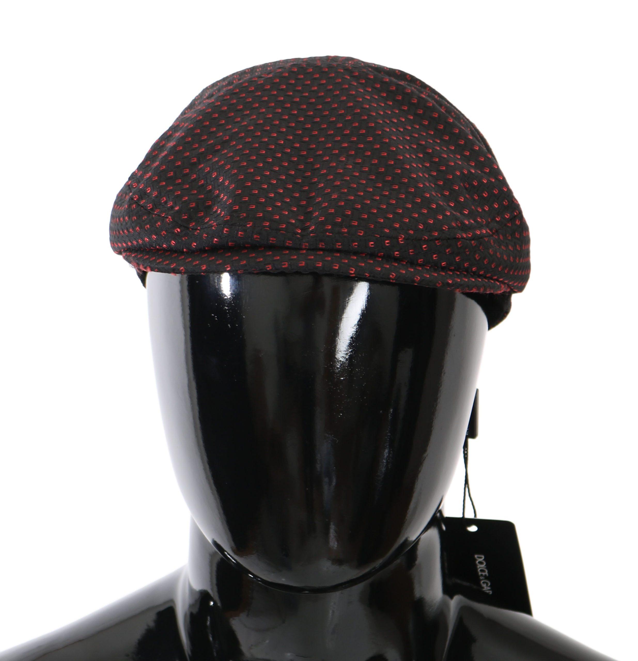 Dolce & Gabbana Men's Patterned Newsboy Capello Hat Bordeaux HAT81021 - 57 cm S