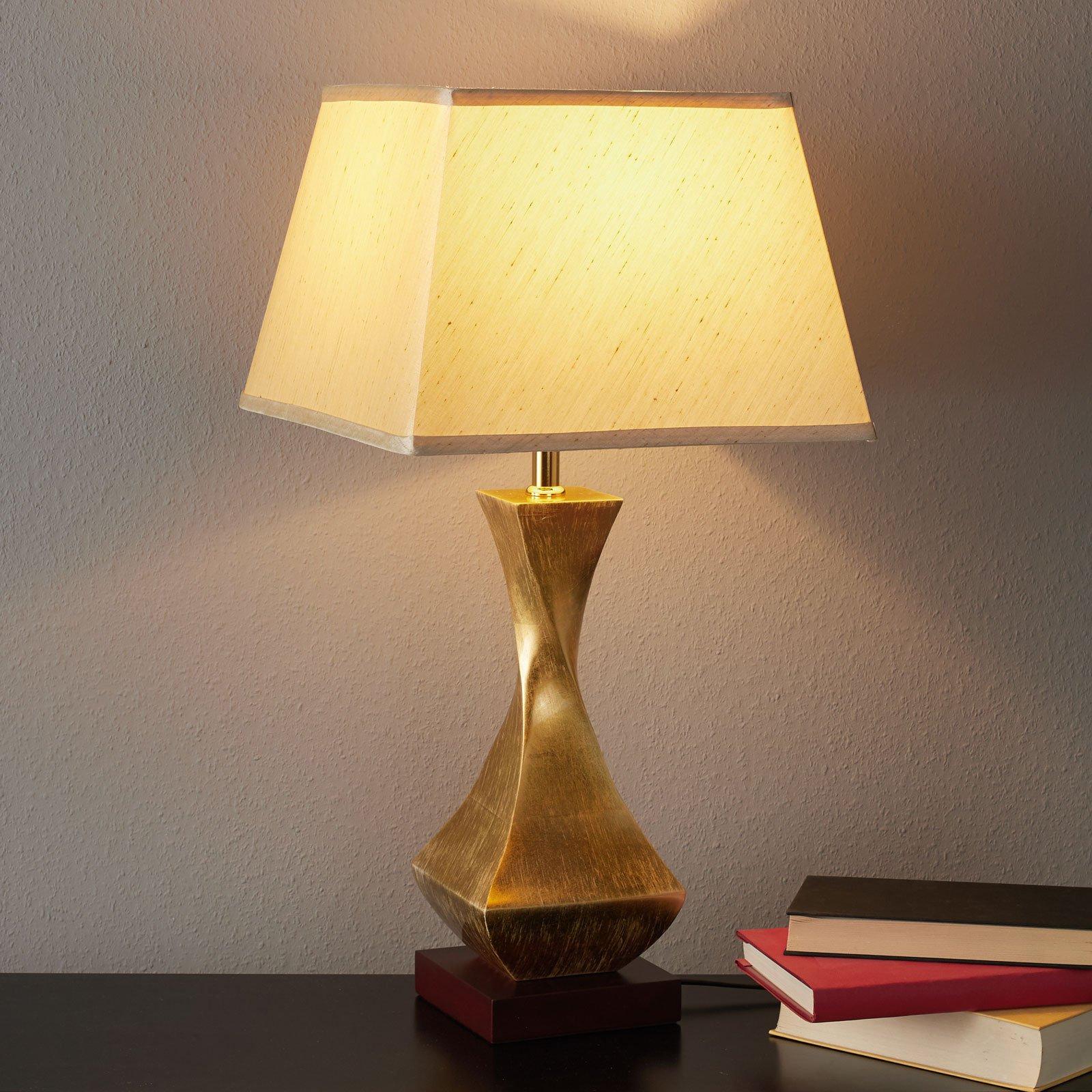 Deco oppsiktsvekkende bordlampe med gullfarget fot