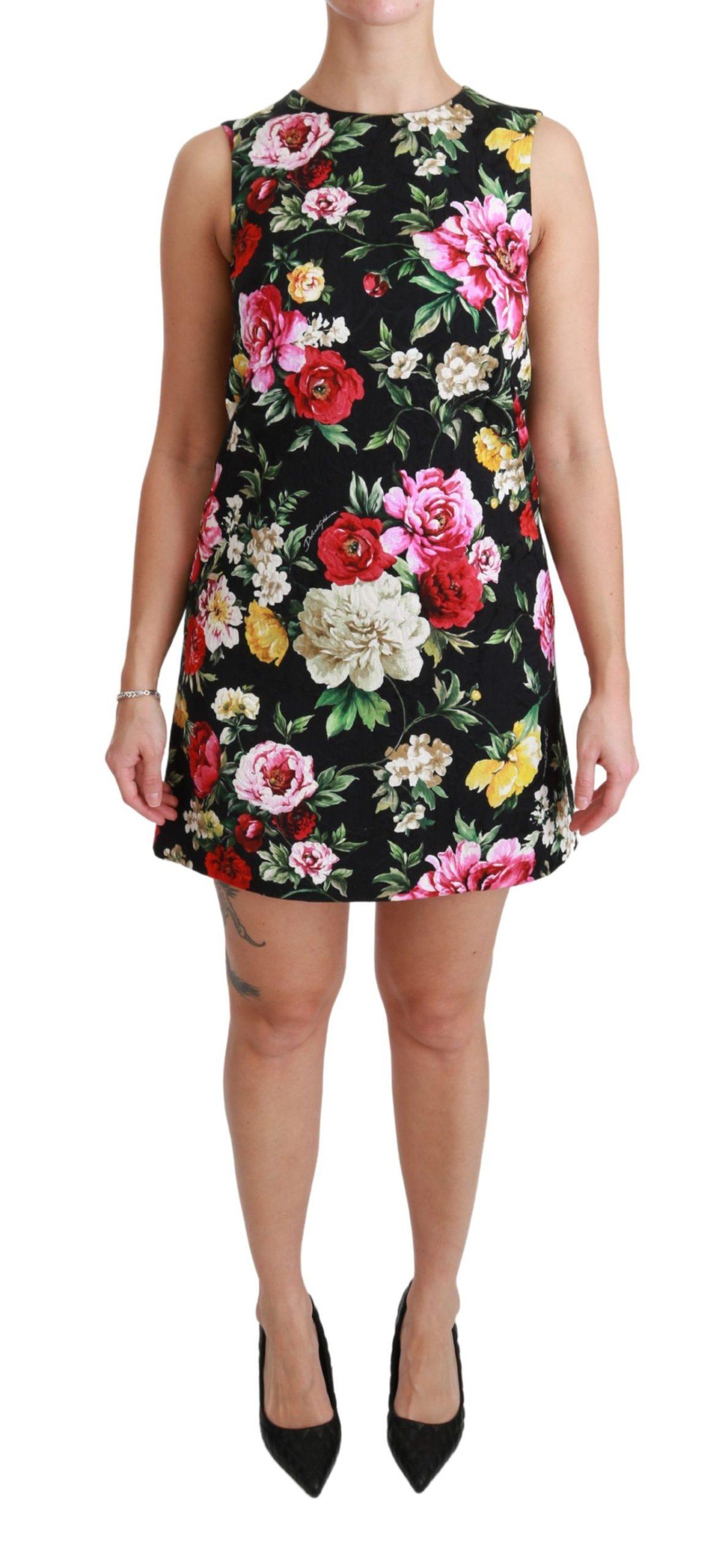 Dolce & Gabbana Women's Floral Brocade Mini Shift Dress Black DR2454 - IT38|XS