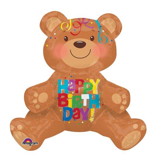 Folieballong Nallebjörn Sittande Happy Birthday