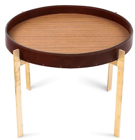 Single deck sofabord - Messing/cognac, teak