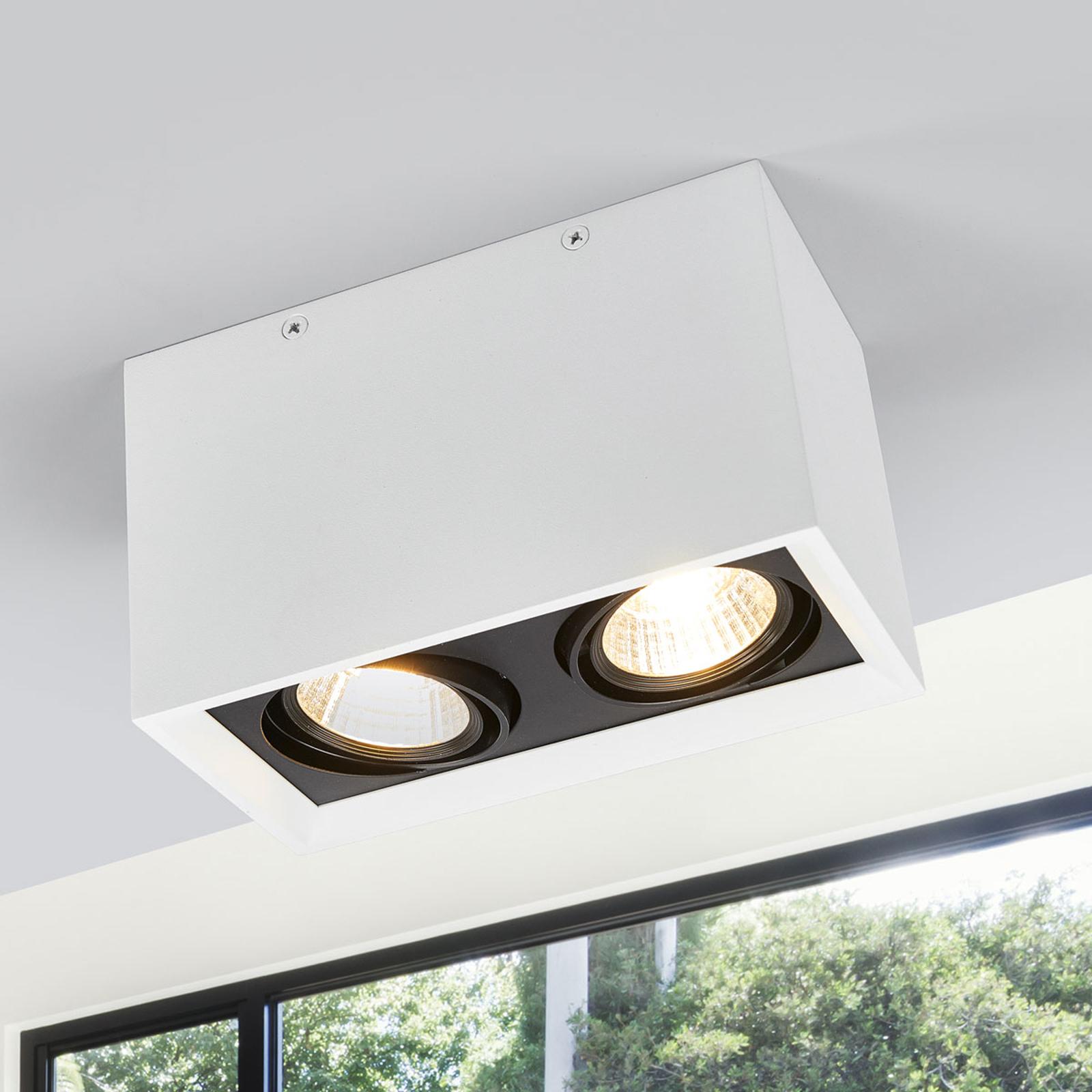 Kaksilamppuinen valkoinen LED-kattolamppu Loreen