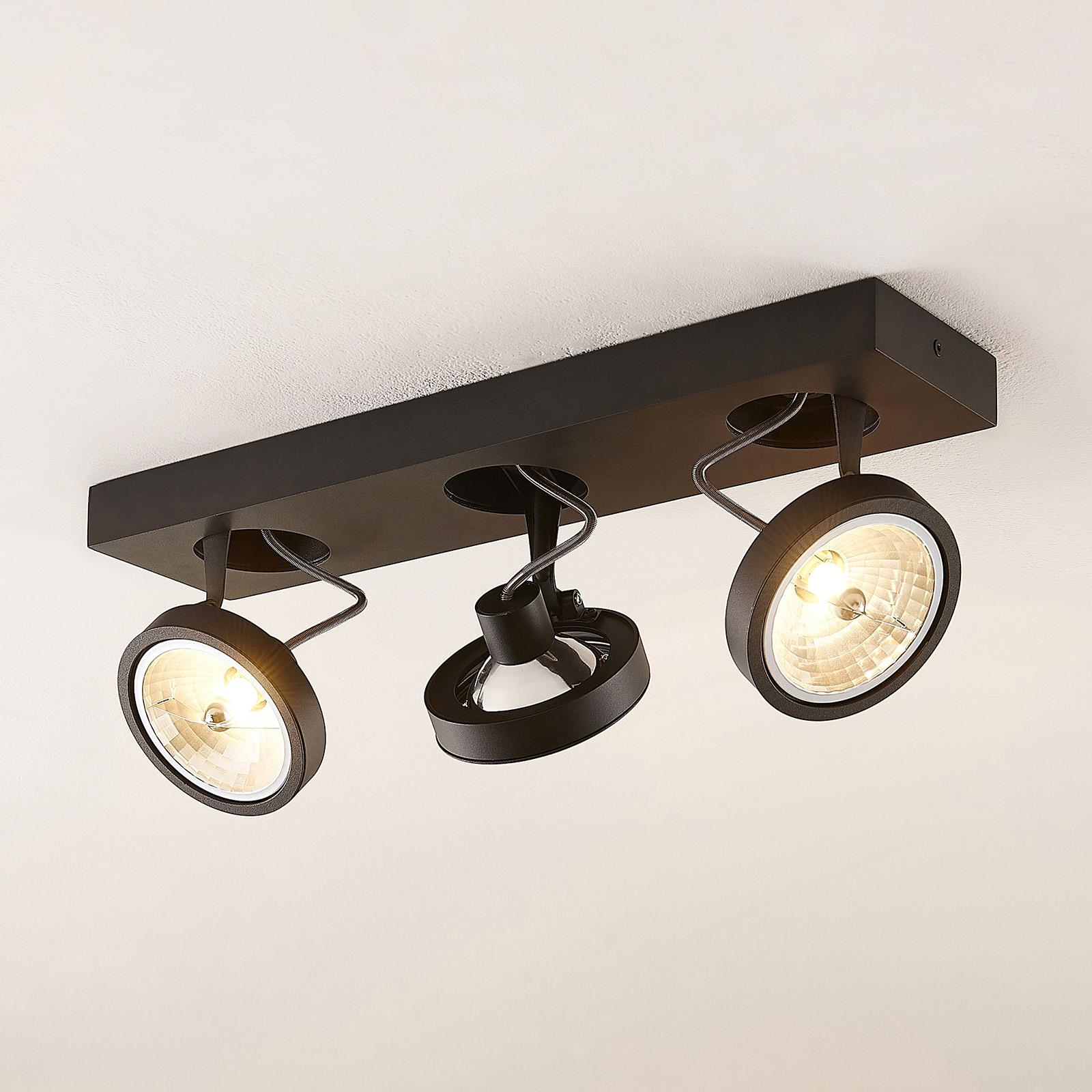 Arcchio Jorvin -kattovalo, 3-lamppuinen, musta