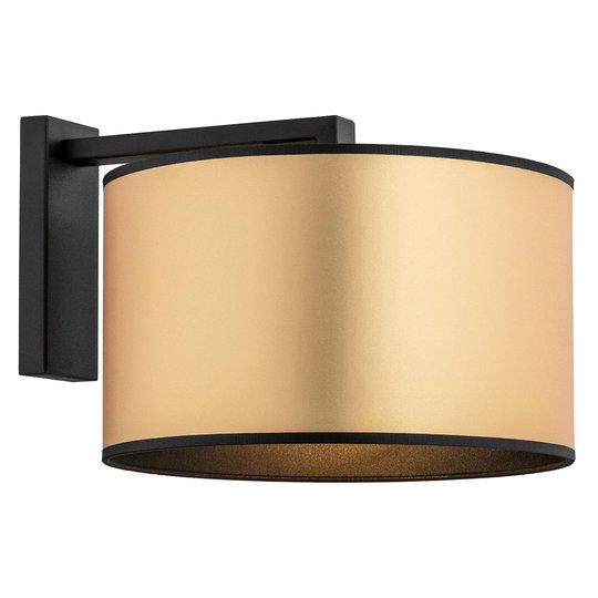 Vegglampe Lobera, tekstilskjerm i gull