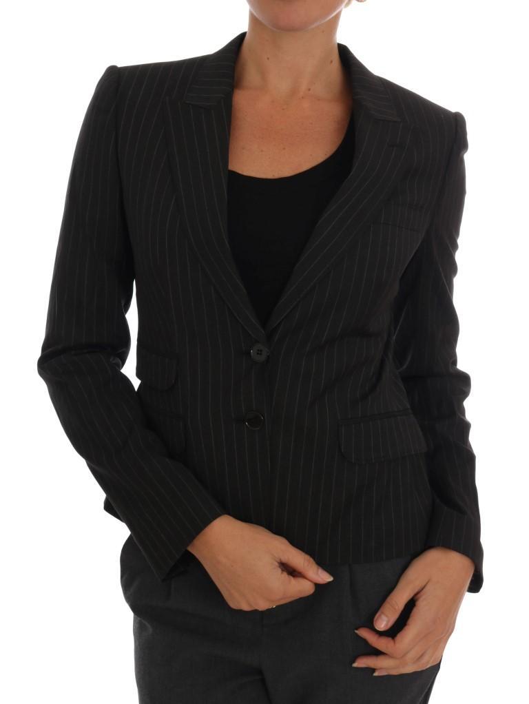 Dolce & Gabbana Women's Striped Wool Blazer Black DR1230 - IT40 S