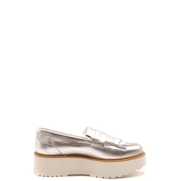 Hogan Women's Flat Shoe Silver 180233 - silver 37.5