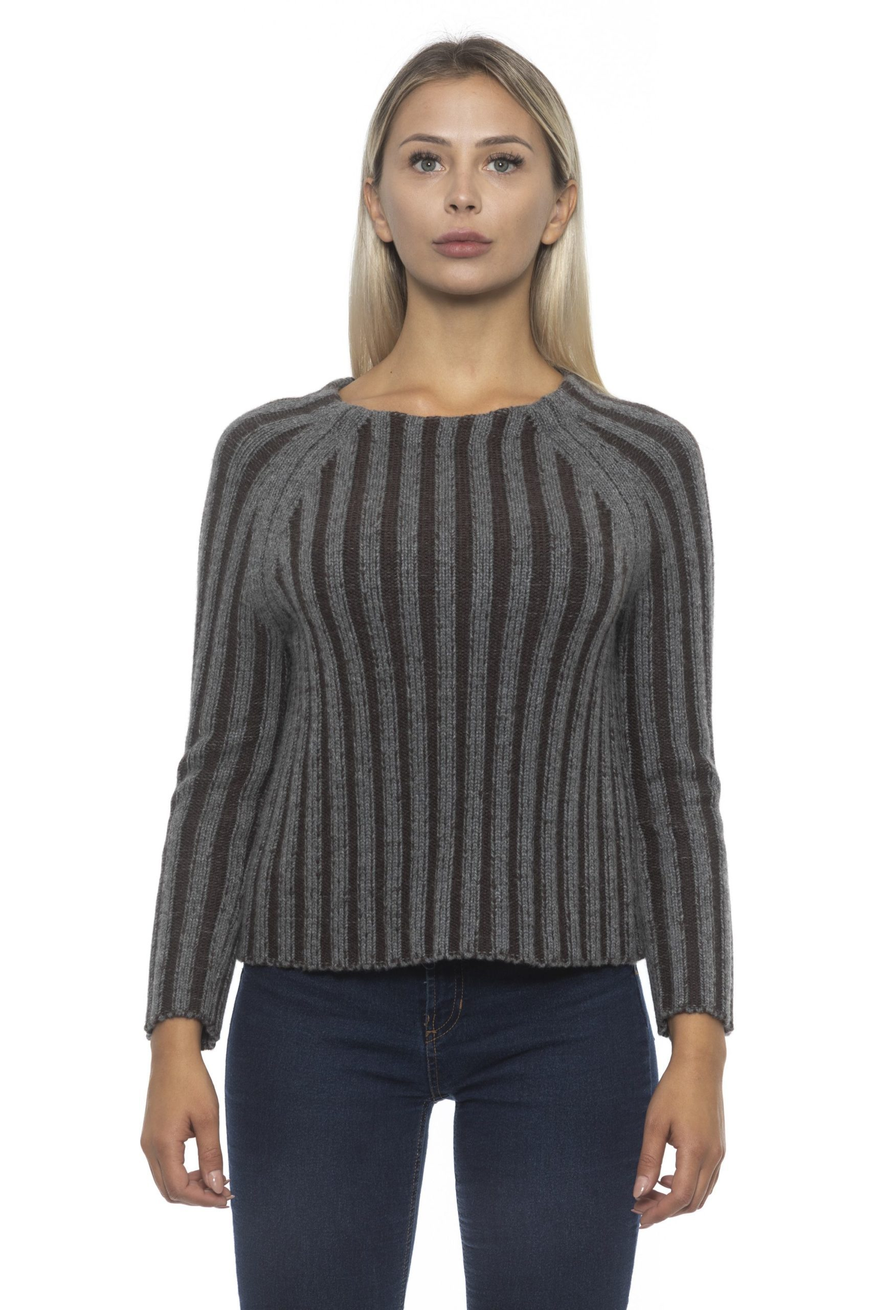 Alpha Studio Women's V A R. U N I C A Sweater Gray AL1192350 - IT42 | S