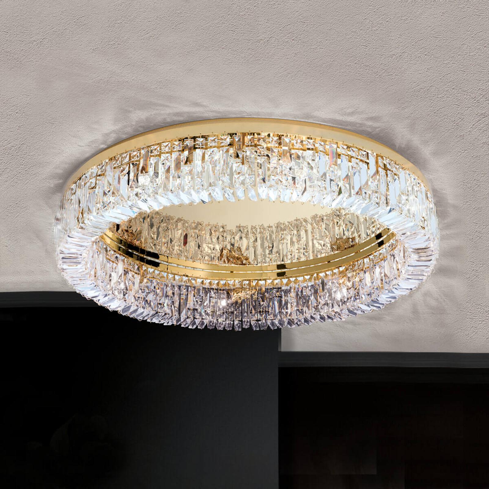 Ring-kristallikattolamppu 75 cm