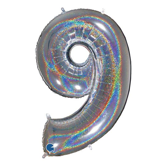 Sifferballong Glitter Silver - Siffra 9
