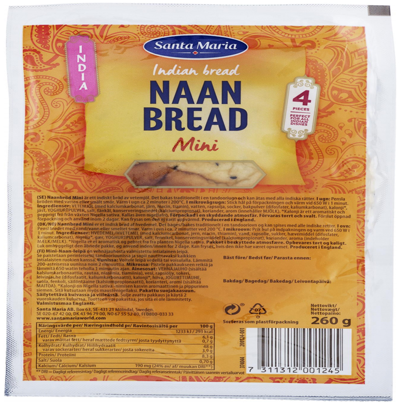 "Bröd ""Naan Bread Mini"" 260g - 58% rabatt"