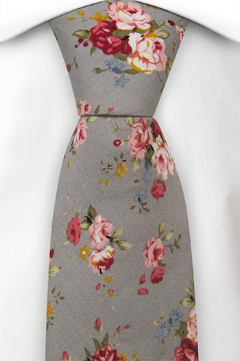 Bomull Slips, Røde, rosa, gule og blå roser på grått, Grå, Blomster