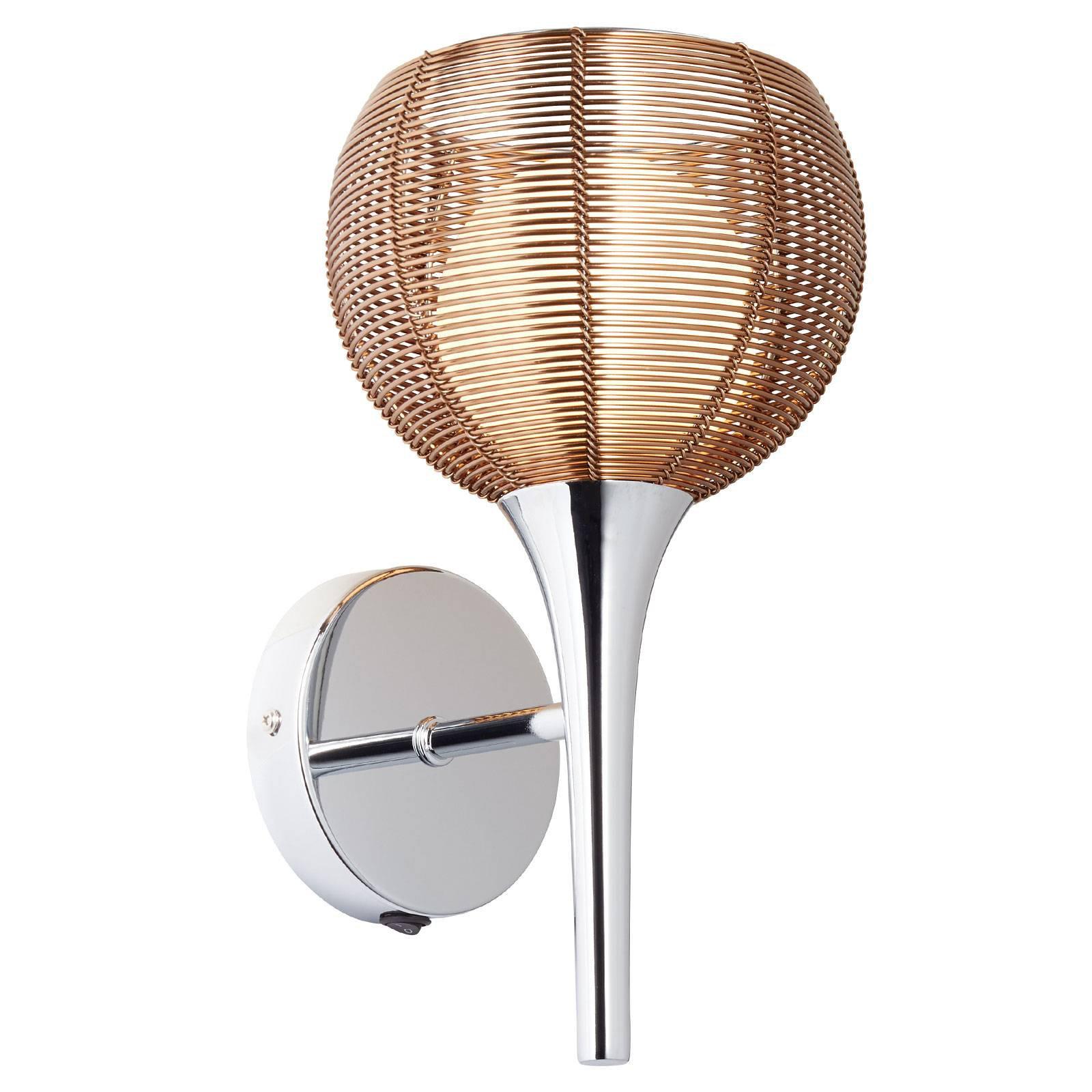 Vegglampe Relax i bronse og krom