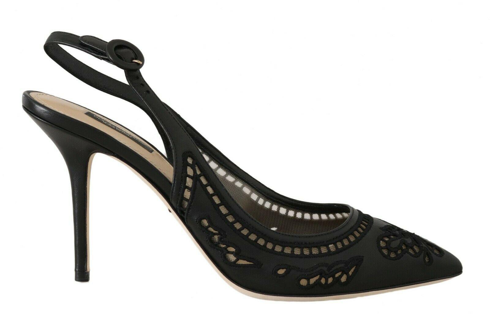 Dolce & Gabbana Women's Floral Cutout Pumps Black LA5605 - EU35/US4.5